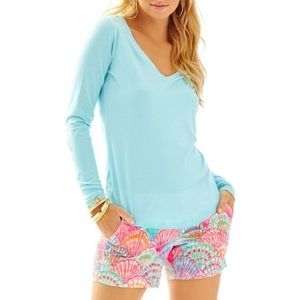 Lilly Pulitzer Nellie Blue Pima  Long Sleeve Top